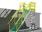 Konstrukcja z profili i krat schodowych w 3D